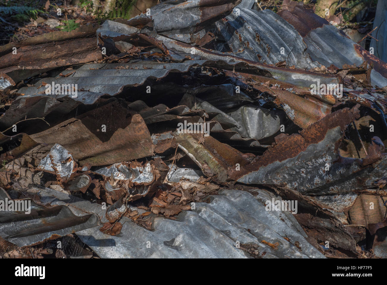 Mass of mangled, rusted, corrugated iron. Metaphor for recycling, urban / industrial decay, or storm damage. - Stock Image