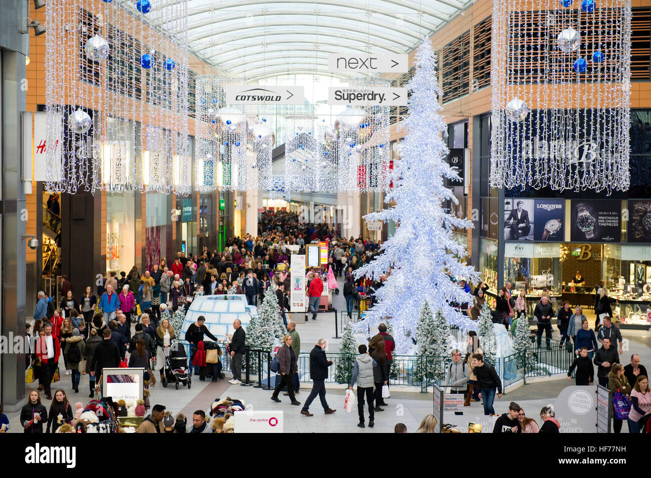 Christmas decorations at the Centre shopping mall, Livingston, West Lothian. - Stock Image