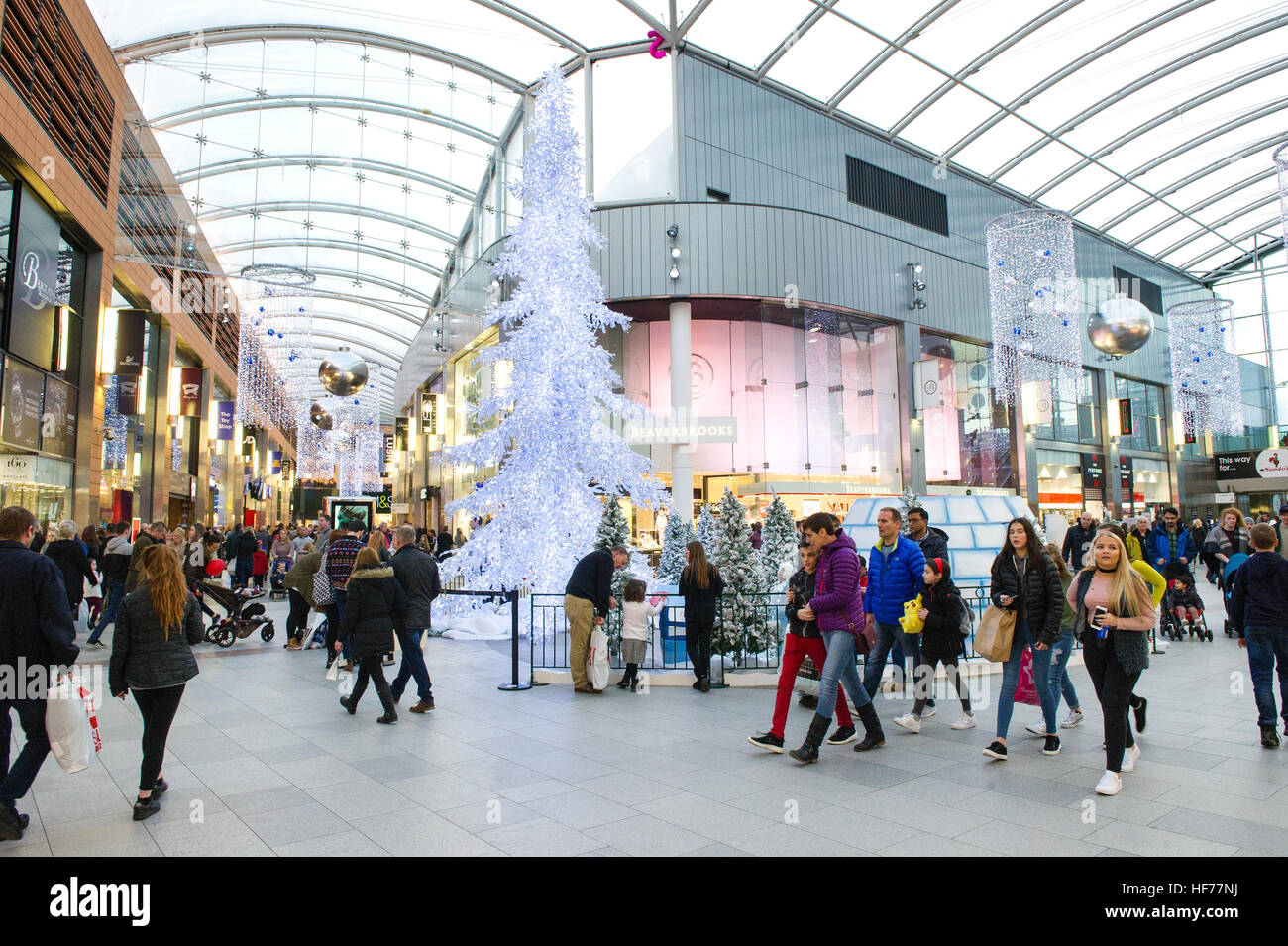 Christmas decorations at the Centre shopping mall, Livingston, West Lothian. Stock Photo