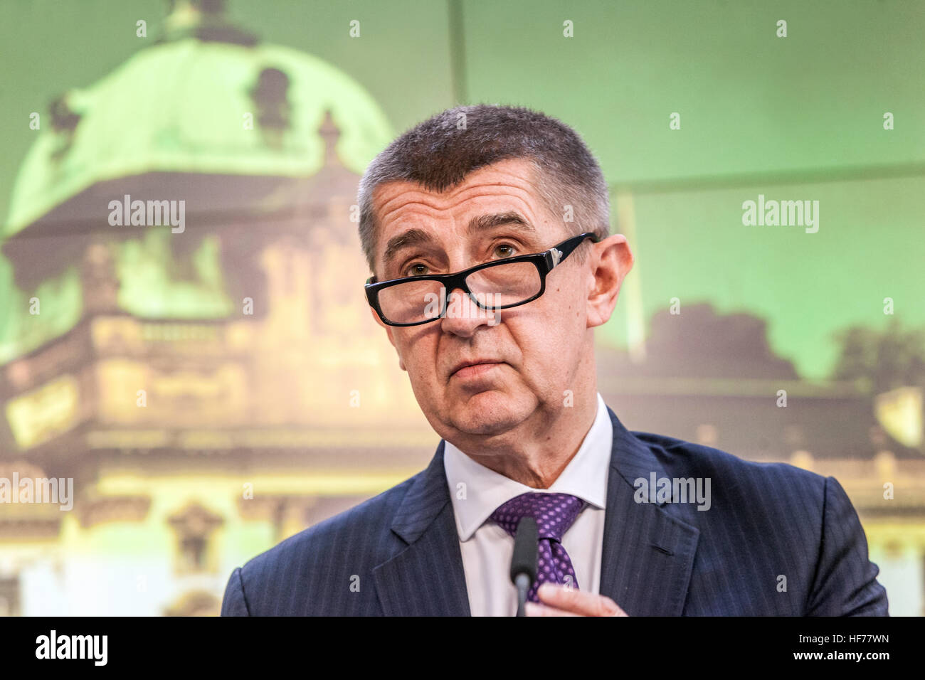 Andrej Babis, Press conference at the Government Office, Prague, Czech Republic - Stock Image