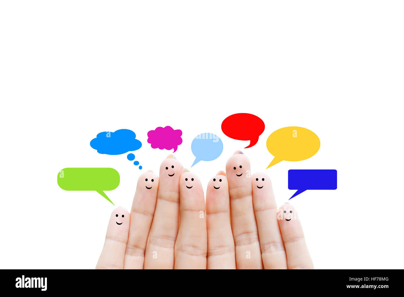Happy human fingers suggesting feedback and communication concept - Stock Image