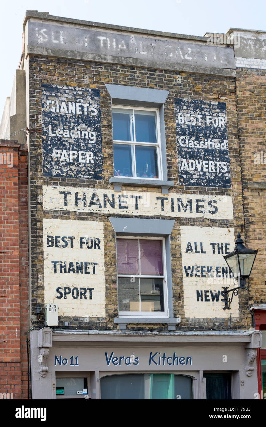 Vintage Thanet Times wall adverts, Broad Street, Margate, Kent, England, United Kingdom - Stock Image