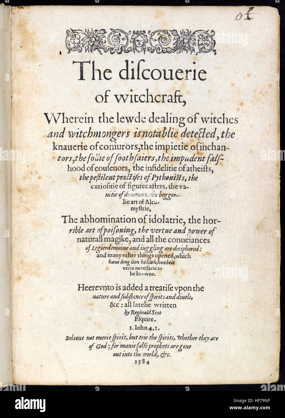 Title page from 'The Discoverie of Witchcraft' by Reginald Scot (1538-1599) published in 1584; a treatise that sought - Stock Image