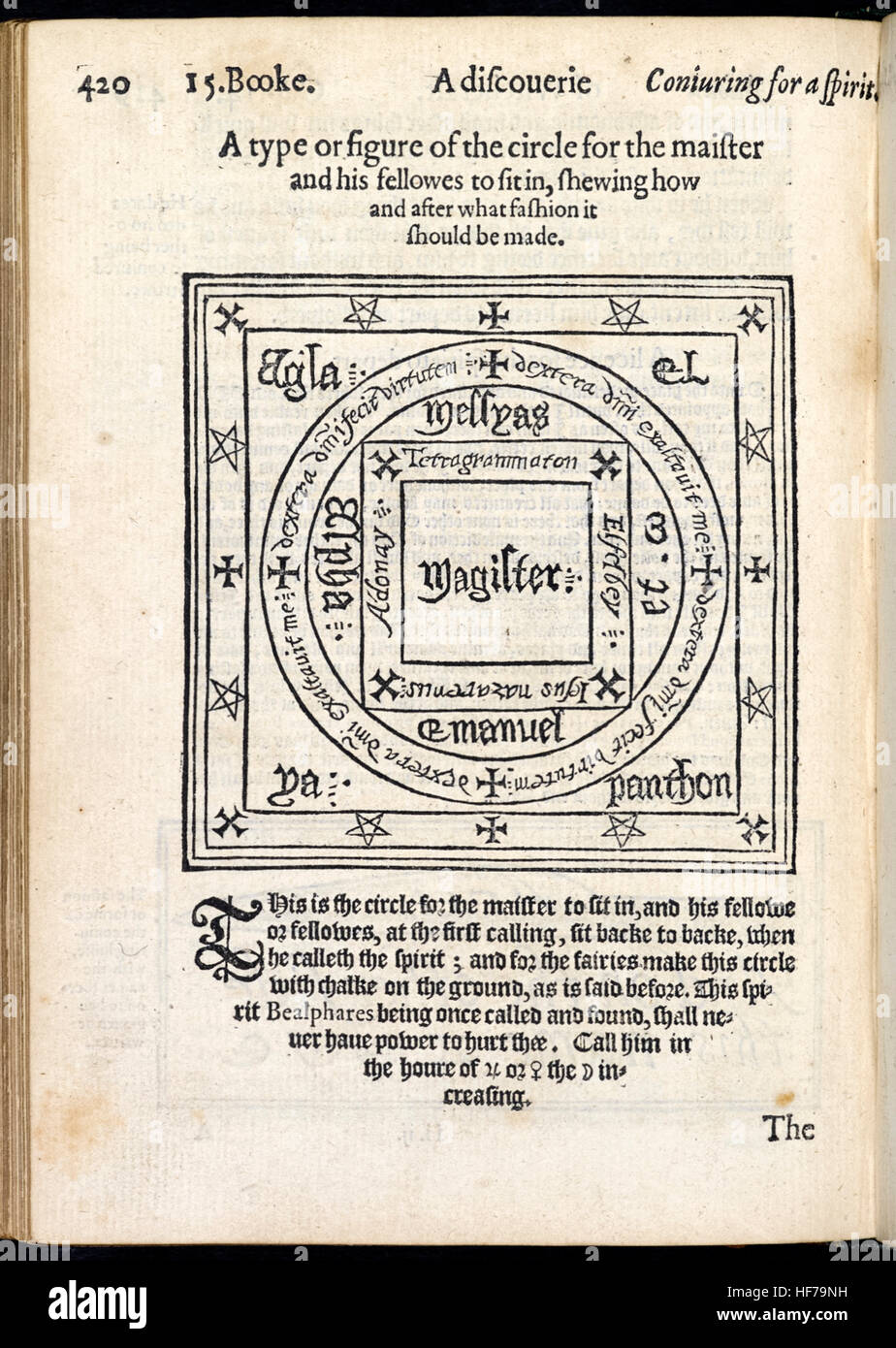 'A type or figure of the circle for the maister and his fellowes to sit in' from 'The Discoverie of Witchcraft' - Stock Image