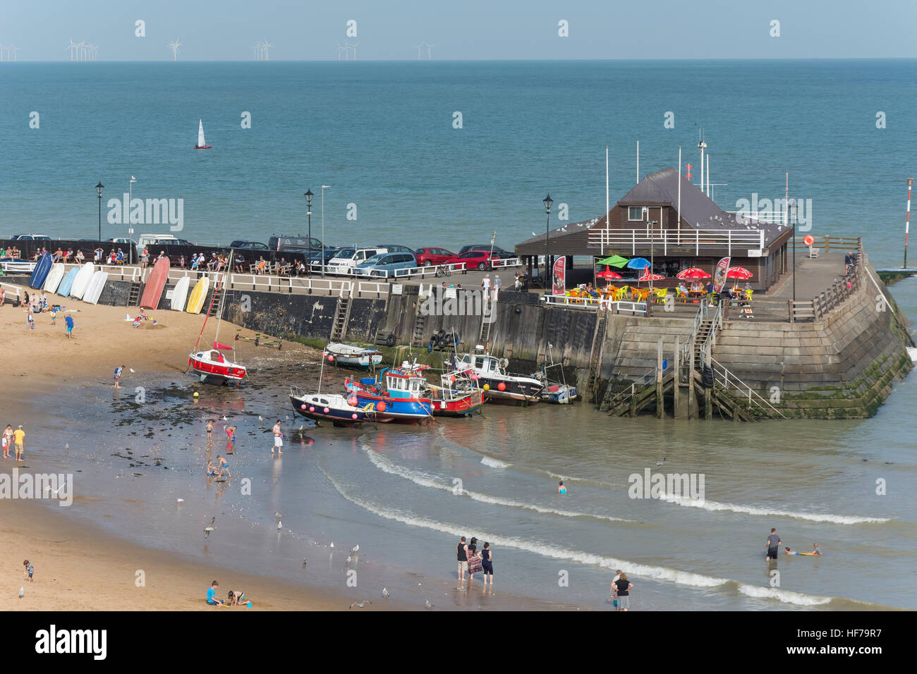 The Pier, Viking Bay Beach, Broadstairs, Isle of Thanet, Thanet District, Kent, England, United Kingdom - Stock Image
