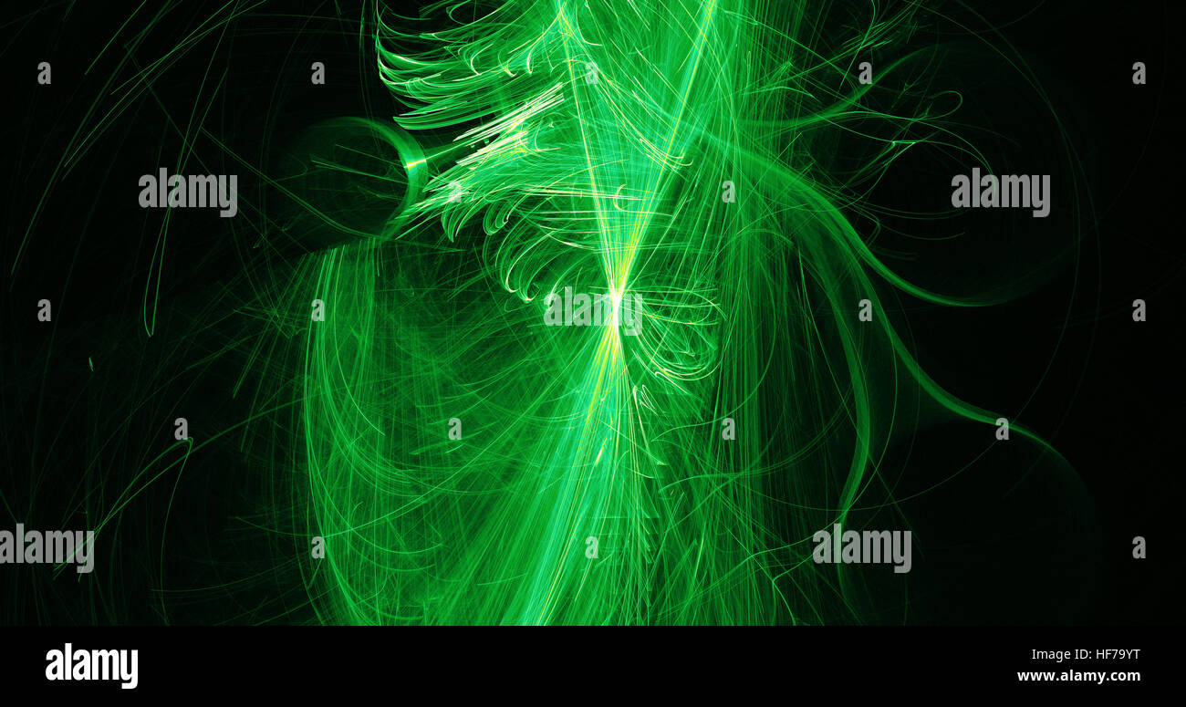 Abstract Design In Green Lines Curves Particles On Dark Background Stock Photo