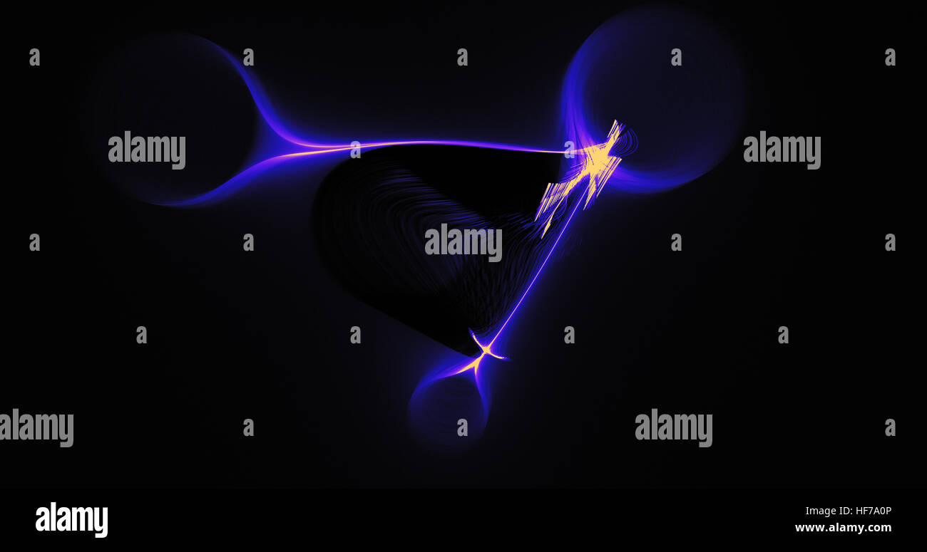 Abstract Design In Blue And Yellow Lines Curves Particles On Dark Background Stock Photo