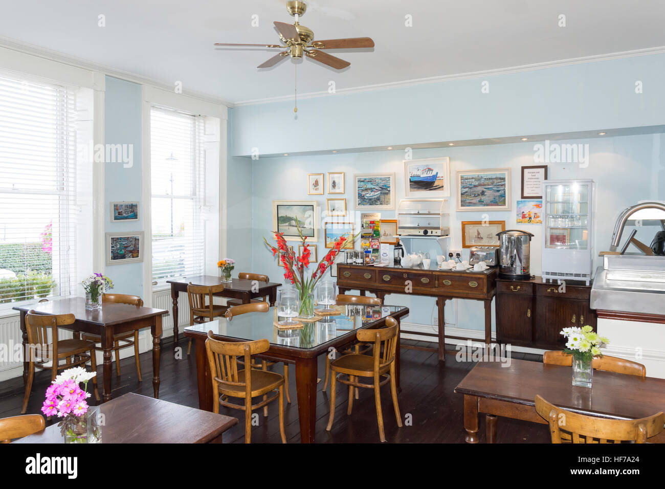 Dining room at The Royal Harbour Hotel, Nelson Crescent, Ramsgate, Isle of Thanet, Kent, England, United Kingdom - Stock Image