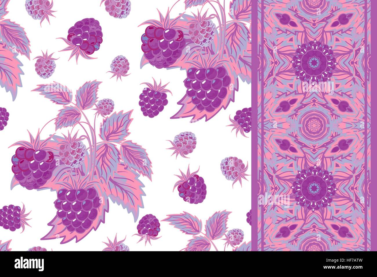 Set Of Vector Seamless Pattern With Lilac Raspberries And Border