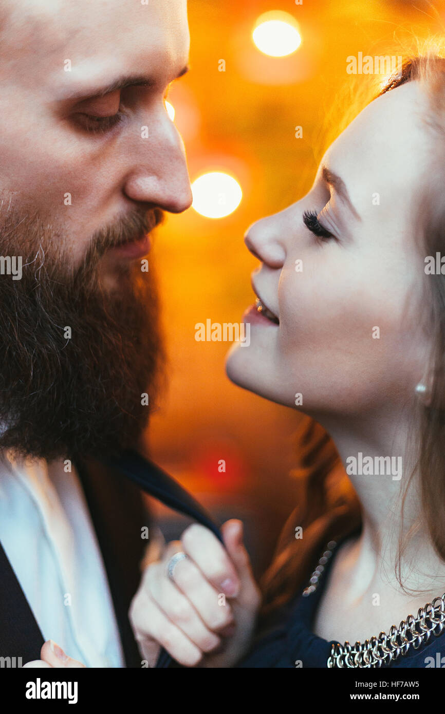 loving couple in a restaurant - Stock Image
