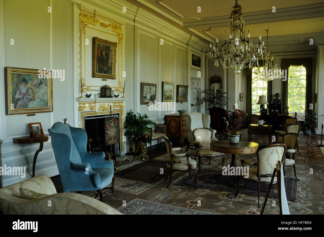 White Drawing Room in Burton Agnes Hall, East Yorkshire, England Stock Photo