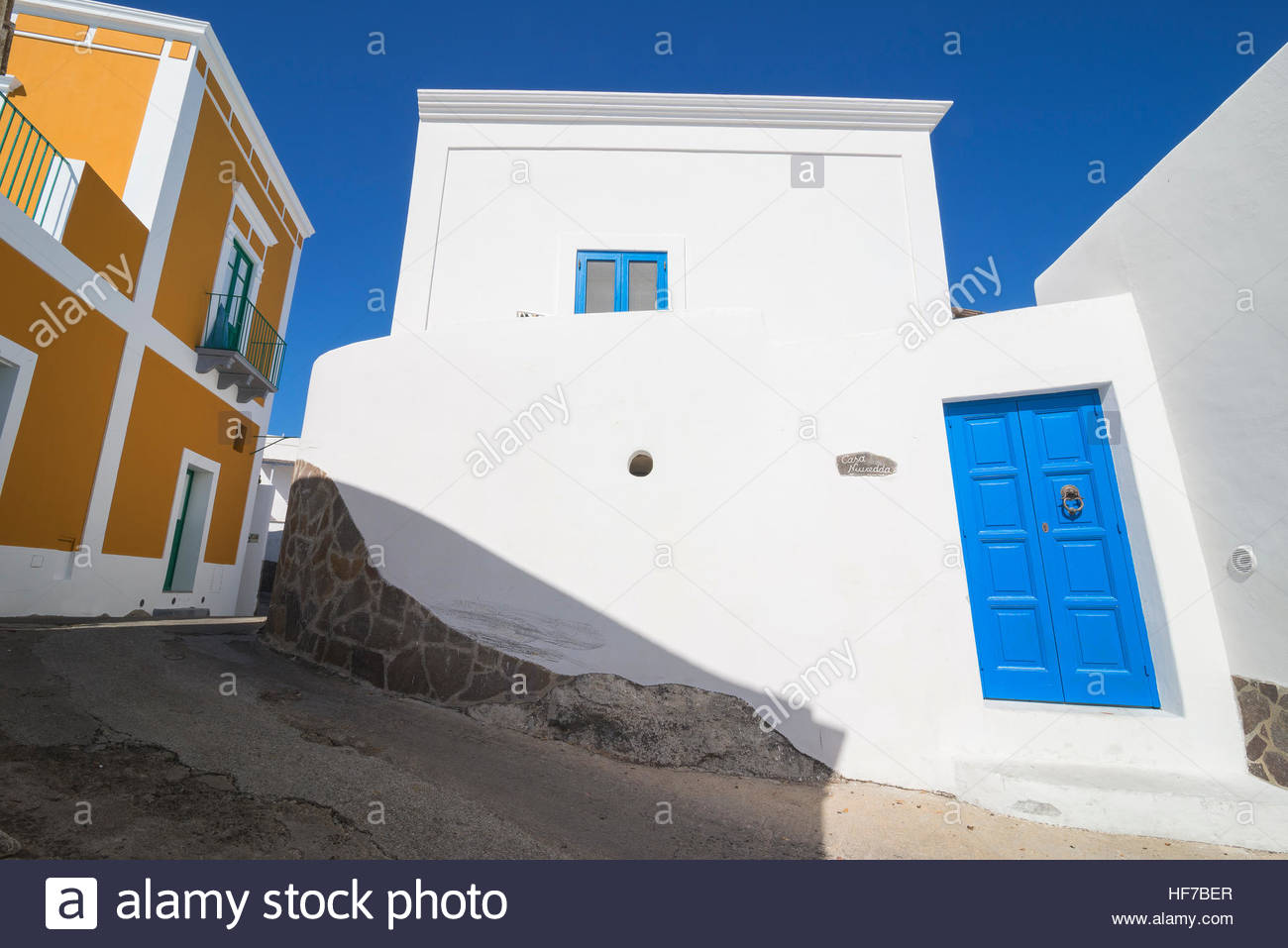 Houses, Panarea, Aeolian Islands, Sicily, Italy, Europe, - Stock Image