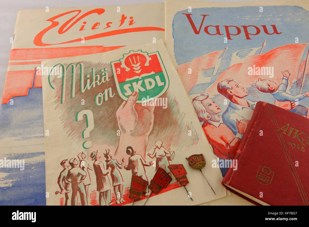 What is SKDL? ask a politica ad from 1947. The Communist Party was banned from 1930 to 1944 in Finland. The Finnish - Stock Image