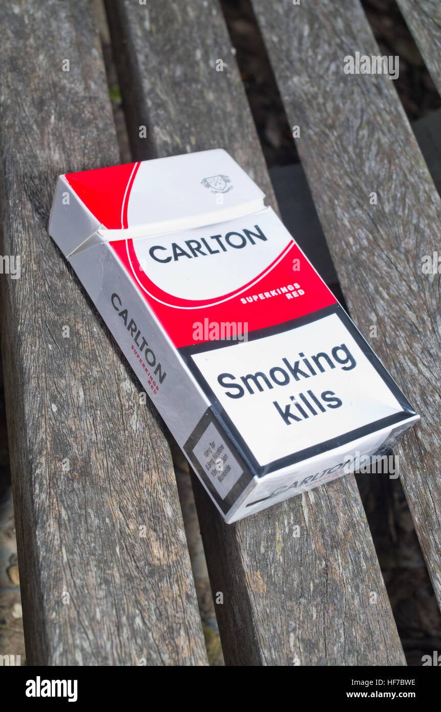 Discarded fag packet, Cigarettes packaging with Smoking Kills government health warning - Stock Image