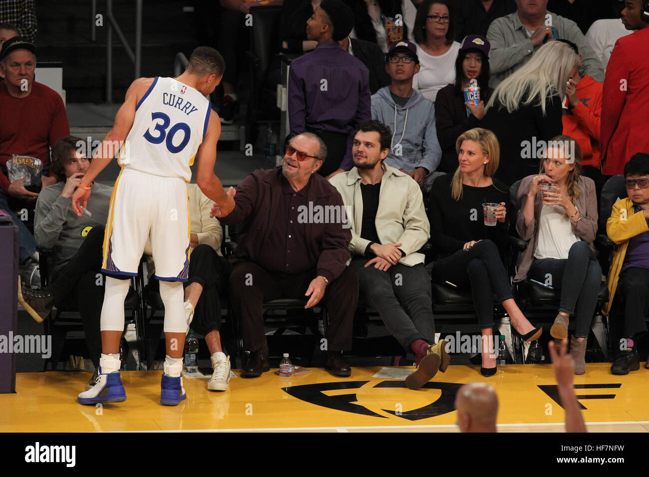 Celebrities at the Los Angeles Lakers game. The Golden State Warriors Stock Photo: 129862989 - Alamy