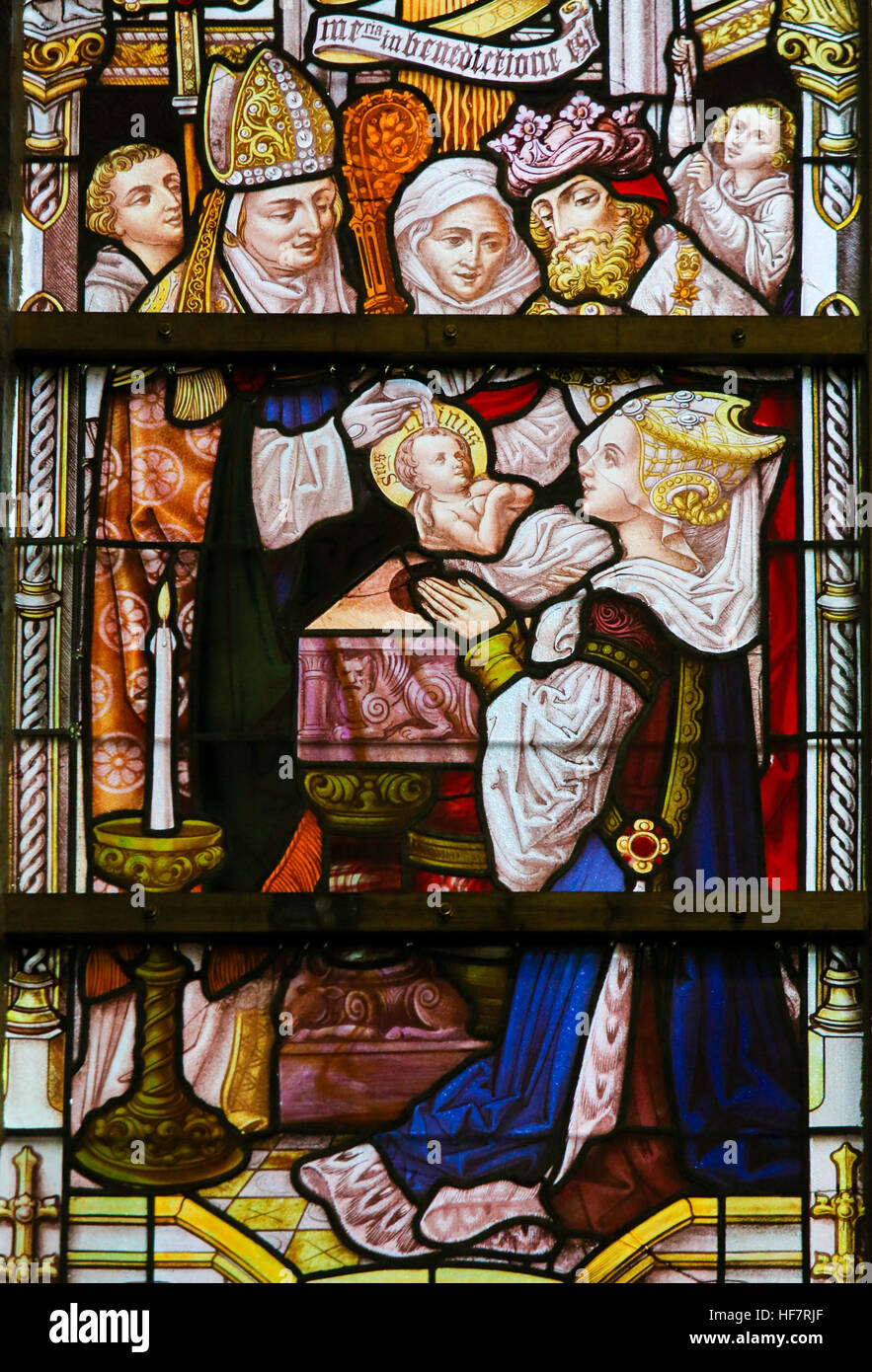 Stained Glass depicting the Baptism of Saint Livinus of Ghent, an apostle in Flanders and Brabant, in the Cathedral - Stock Image