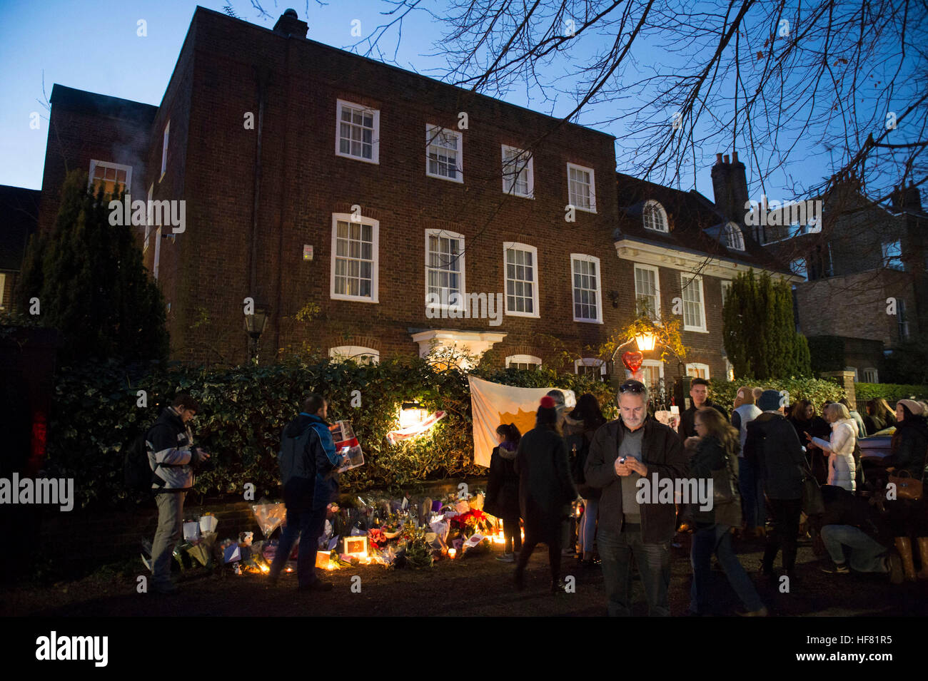 George Michaels Home In Highgate, North London Christmas 2020 Mourners gather at George Michael's house in Highgate, North
