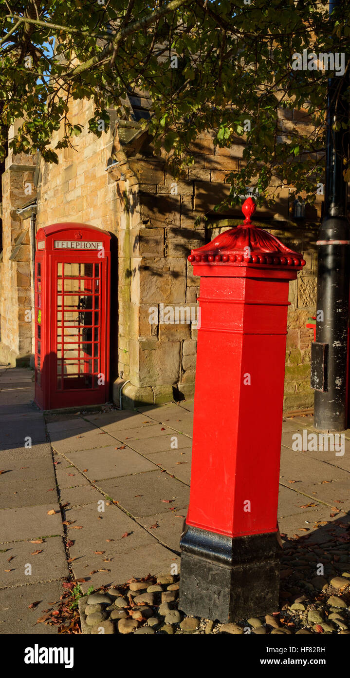 Red Phone box and Letter Box - Stock Image
