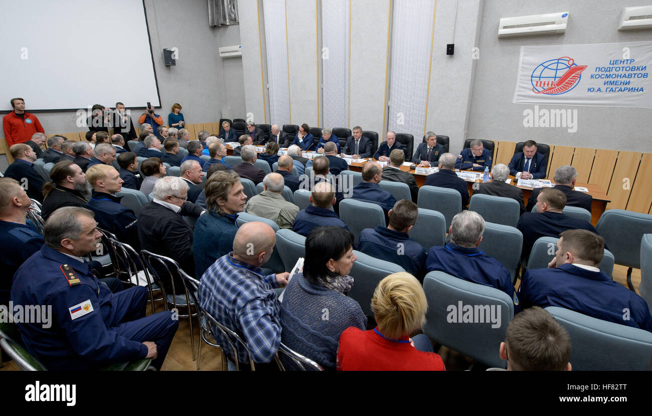 Mission managers as seen during the State Commission meeting to approve the Expedition 50 Soyuz launch to the International - Stock Image