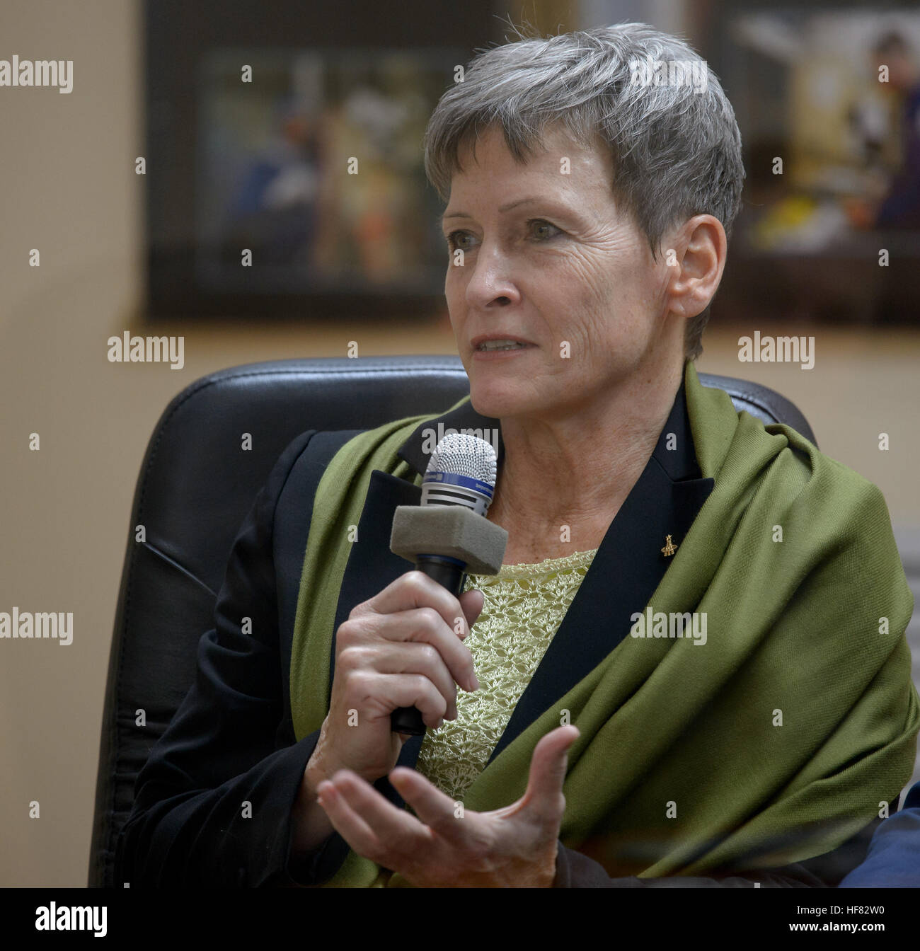 Expedition 50 NASA astronaut Peggy Whitson is seen during the State Commission meeting, Wednesday, Nov. 16, 2016 - Stock Image