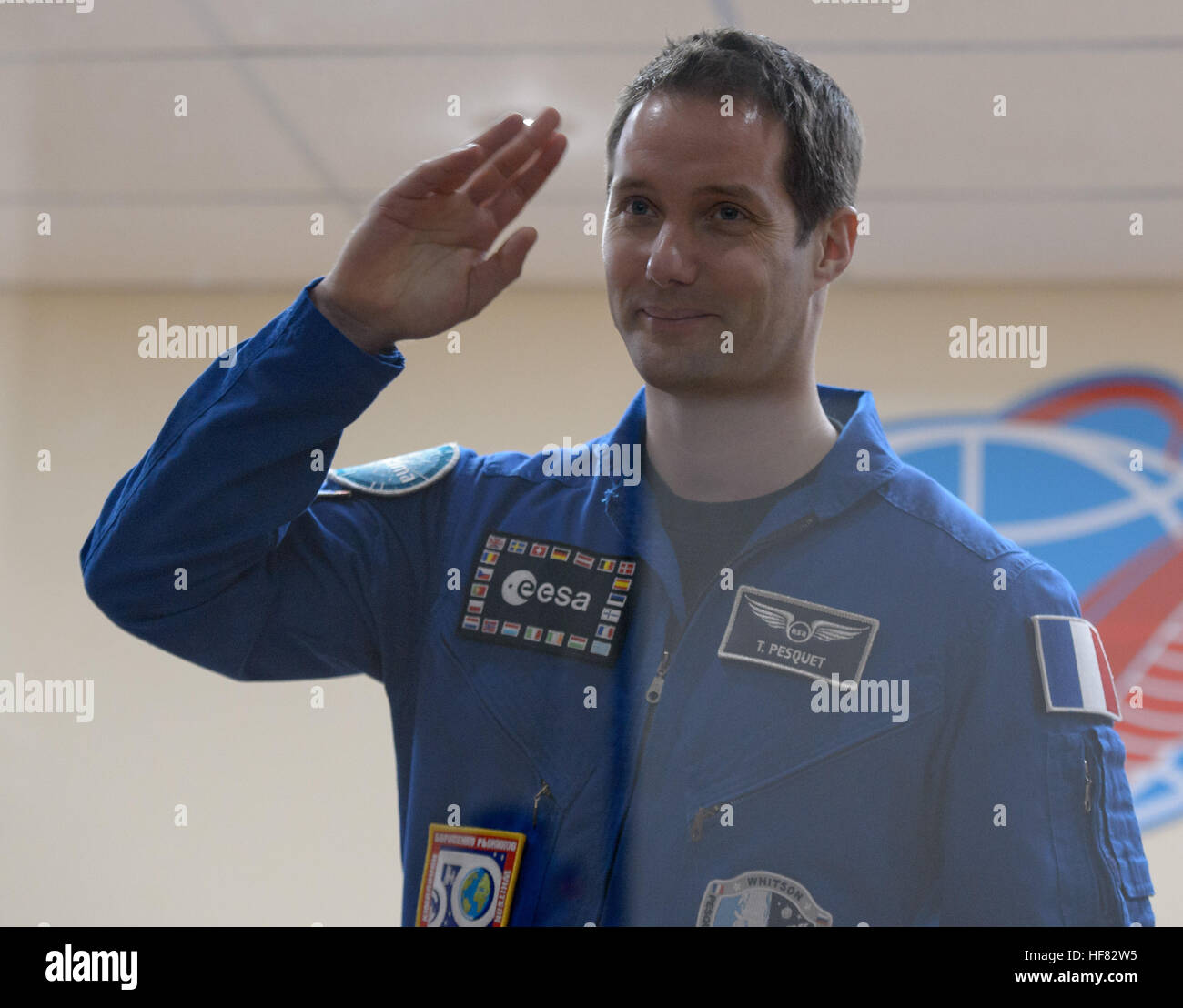 Expedition 50 ESA astronaut Thomas Pesquet is seen in quarantine behind glass during a crew press conference, Wednesday, - Stock Image