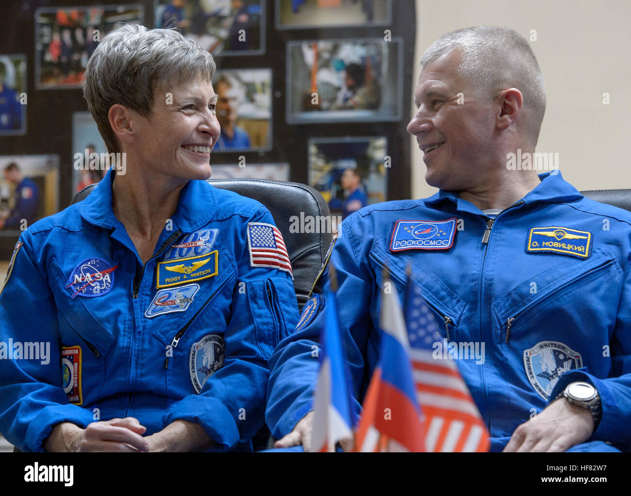 Expedition 50 NASA astronaut Peggy Whitson, left, and Russian cosmonaut Oleg Novitskiy of Roscosmos are seen in - Stock Image