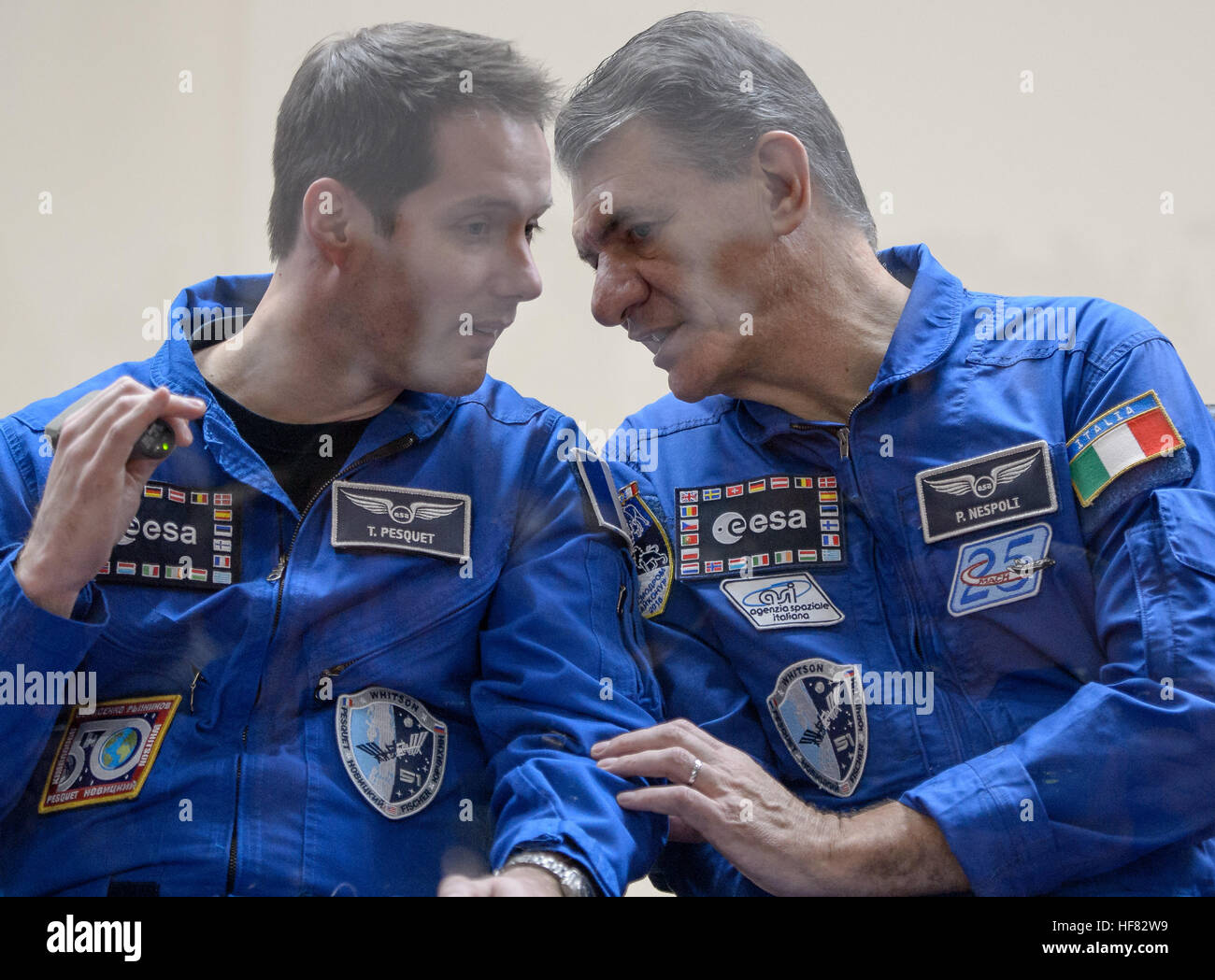 Expedition 50 ESA astronaut Thomas Pesquet, left, and backup crew member ESA astronaut Paolo Nespoli are seen in - Stock Image