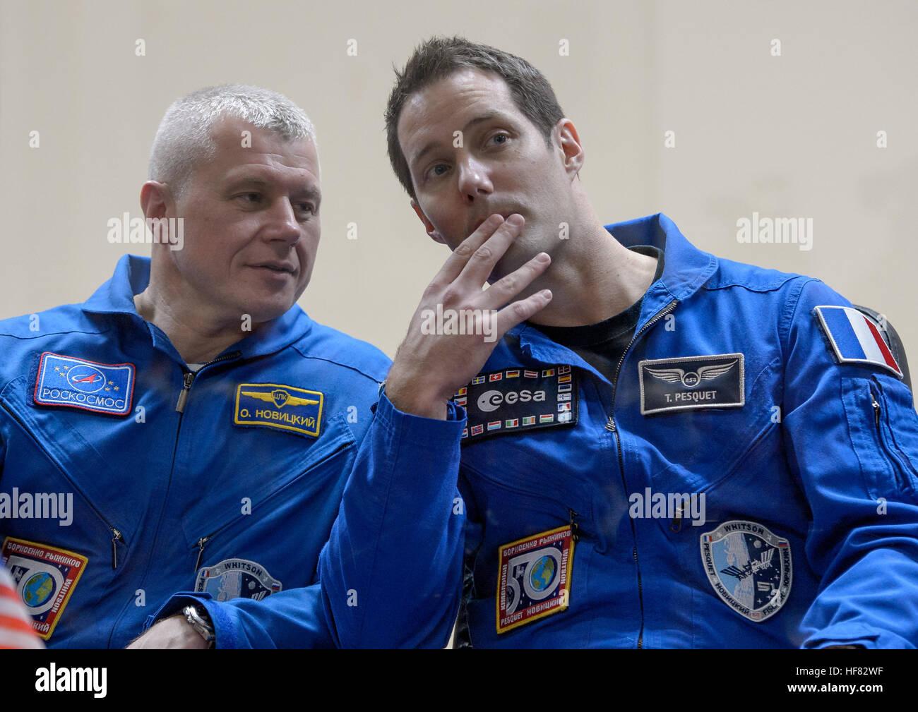 Expedition 50 Russian cosmonaut Oleg Novitskiy of Roscosmos, left, and ESA astronaut Thomas Pesquet are seen in - Stock Image