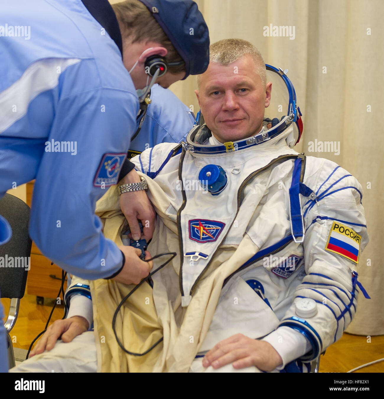 Expedition 50 Russian cosmonaut Oleg Novitskiy of Roscosmos is seen donning his Russian sokol suit a few hours ahead - Stock Image