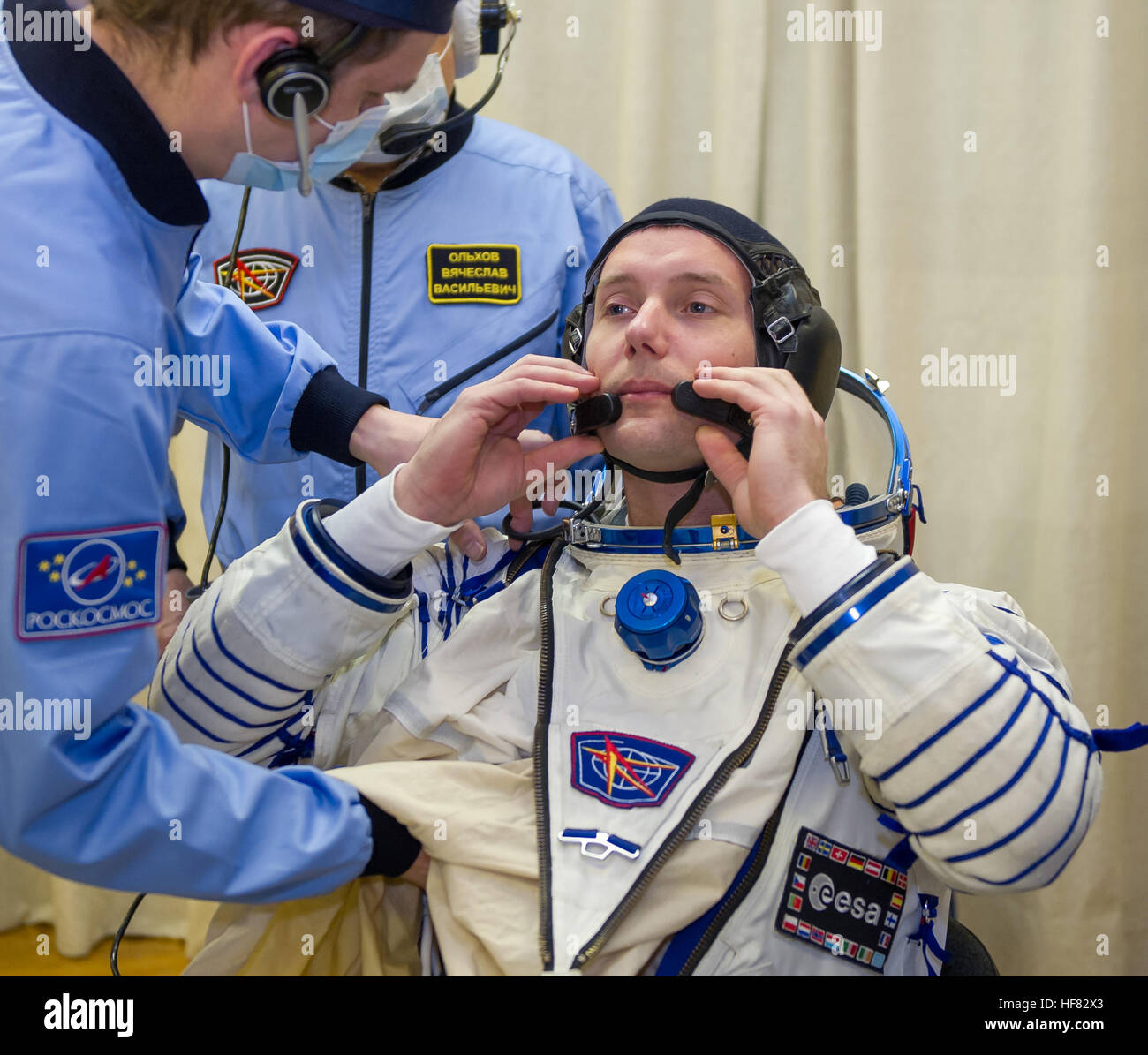 Expedition 50 ESA astronaut Thomas Pesquet is seen donning his Russian sokol suit a few hours ahead of his launch - Stock Image