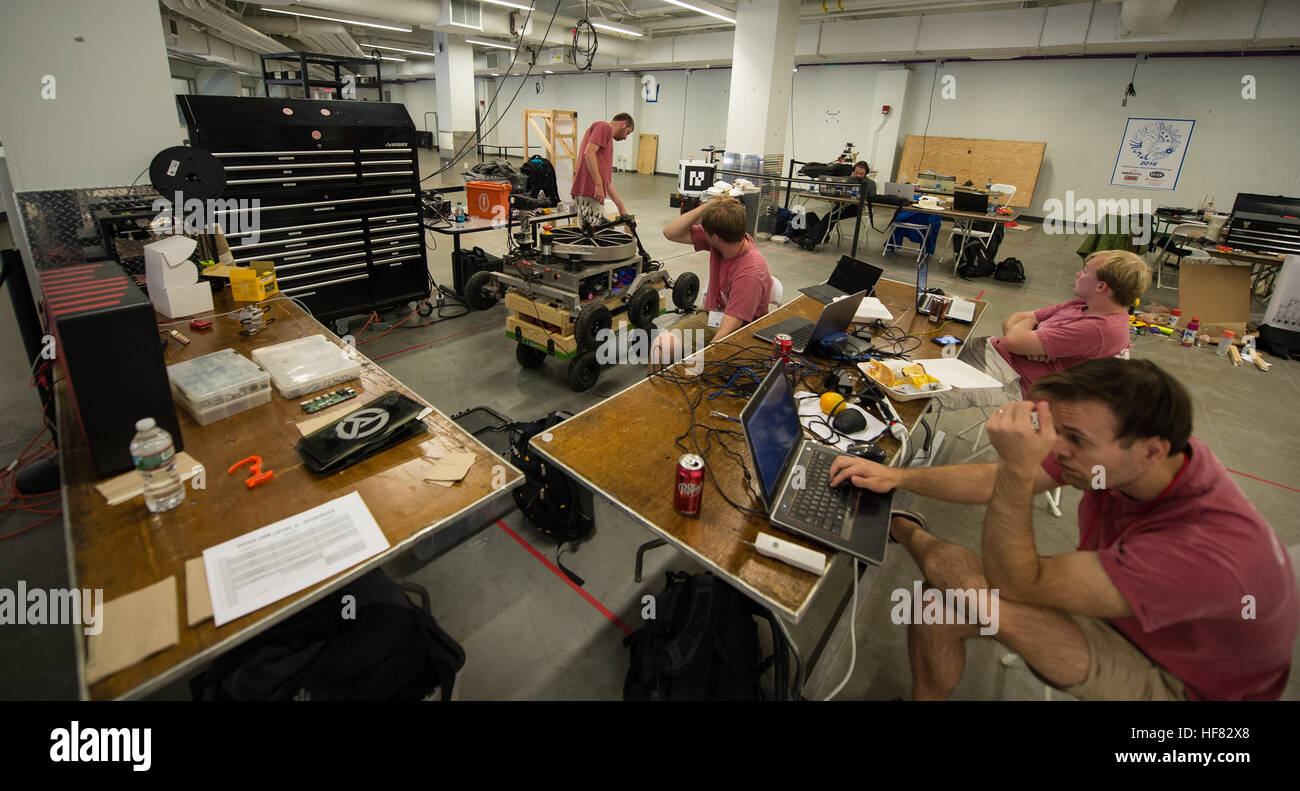 Members of the Alabama Astrobotics from Tuscaloosa, Alabama work to prepare their robot for the 2016 Sample Return - Stock Image
