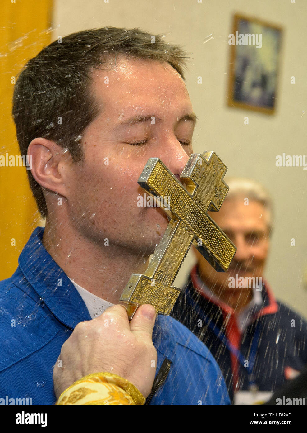 Expedition 50 ESA astronaut Thomas Pesquet receives a traditional blessing from a Russian Orthodox Priest prior - Stock Image