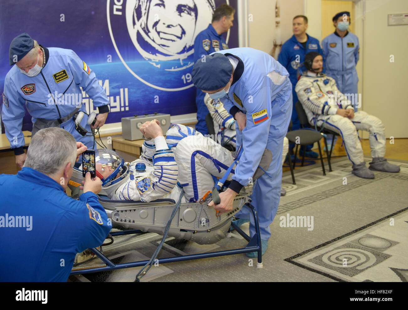Expedition 50 Russian cosmonaut Oleg Novitskiy of Roscosmos has his Russian sokol suit pressure tested a few hours - Stock Image