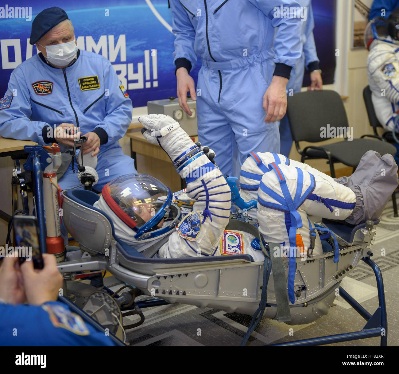 Expedition 50 NASA astronaut Peggy Whitson has her Russian sokol suit pressure tested a few hours ahead of her launch - Stock Image