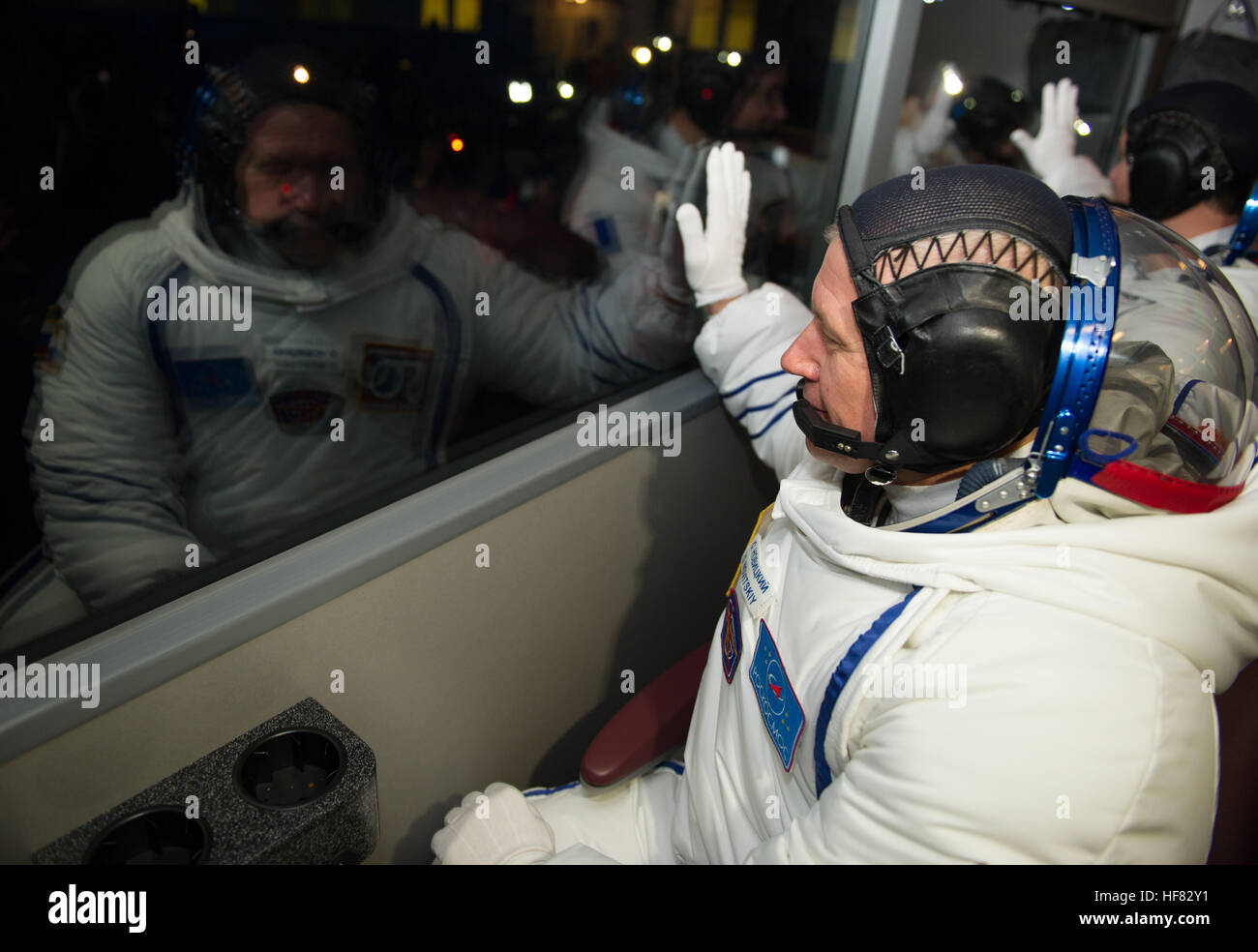 Expedition 50 Russian cosmonaut Oleg Novitskiy of Roscosmos waves farewell to friends, family, and mission managers - Stock Image