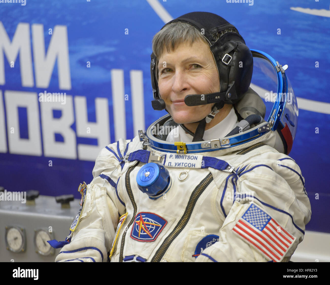 Expedition 50 NASA astronaut Peggy Whitson is seen after donning her Russian sokol suit a few hours ahead of her - Stock Image
