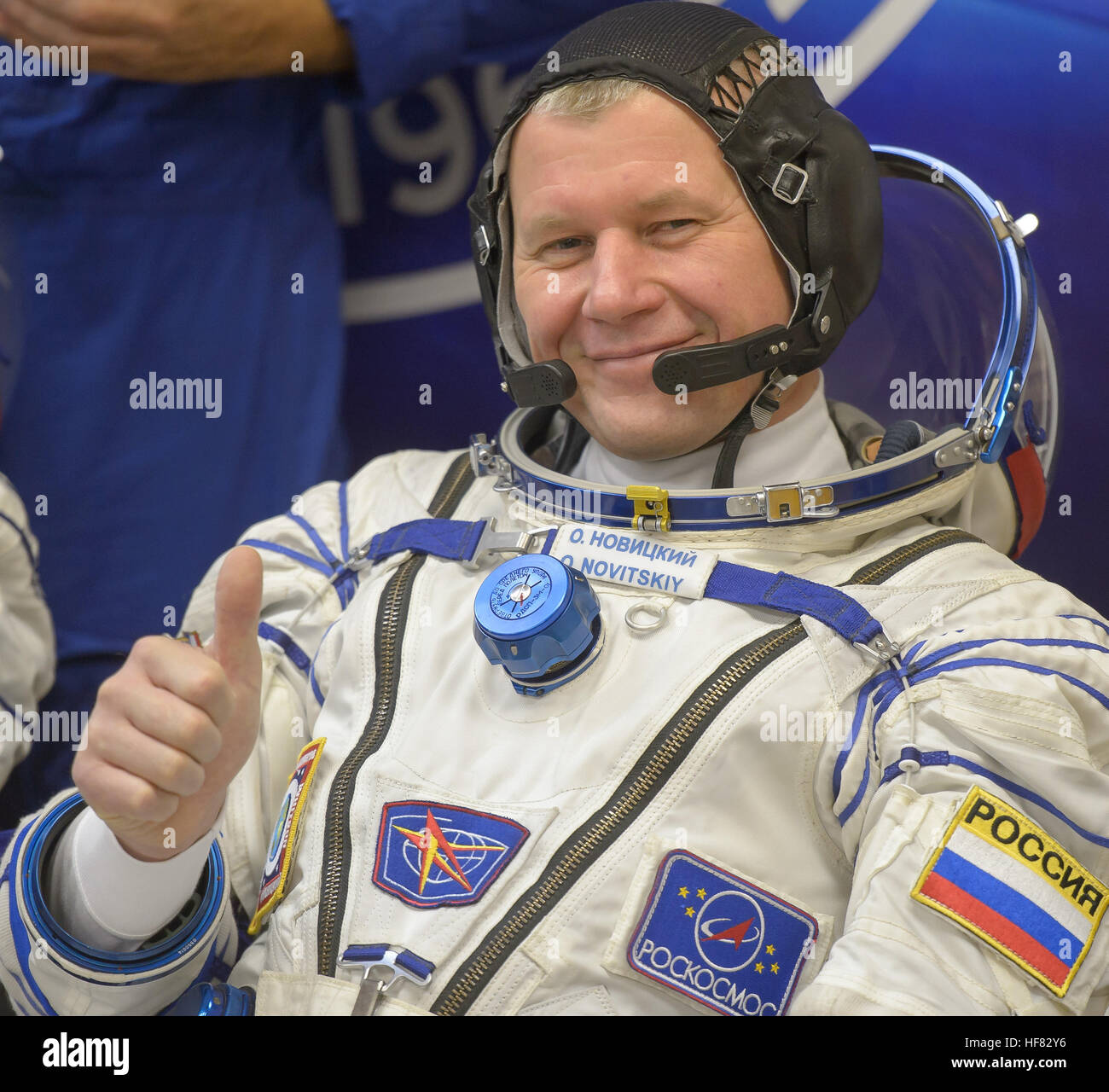 Expedition 50 Russian cosmonaut Oleg Novitskiy of Roscosmos is seen after donning his Russian sokol suit a few hours - Stock Image