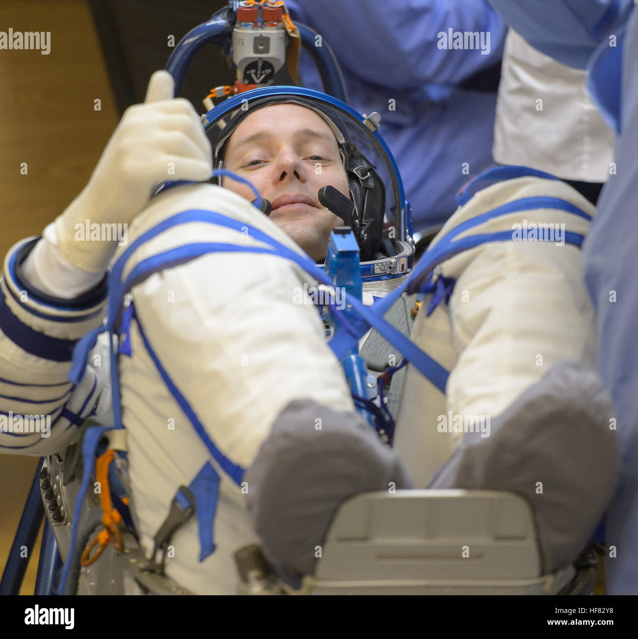 Expedition 50 ESA astronaut Thomas Pesquet has his Russian sokol suit pressure tested a few hours ahead of  his - Stock Image