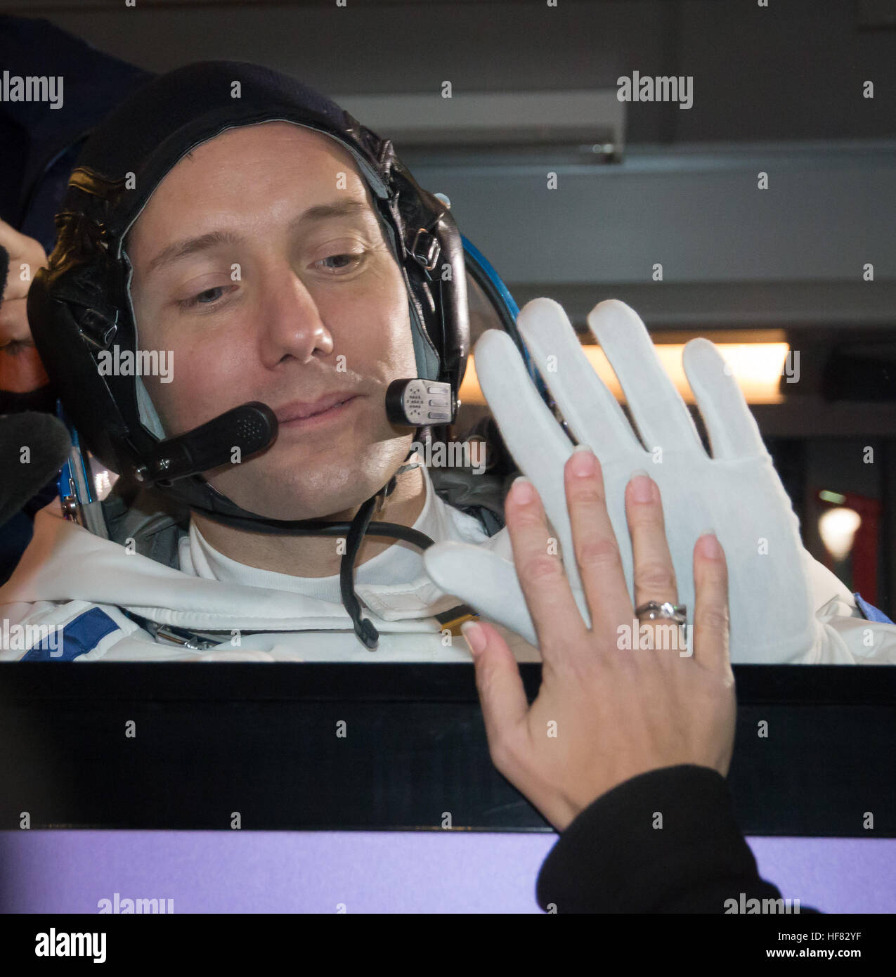 Expedition 50 ESA astronaut Thomas Pesquet waves farewell to friends and family as he and NASA astronaut Peggy Whitson, - Stock Image