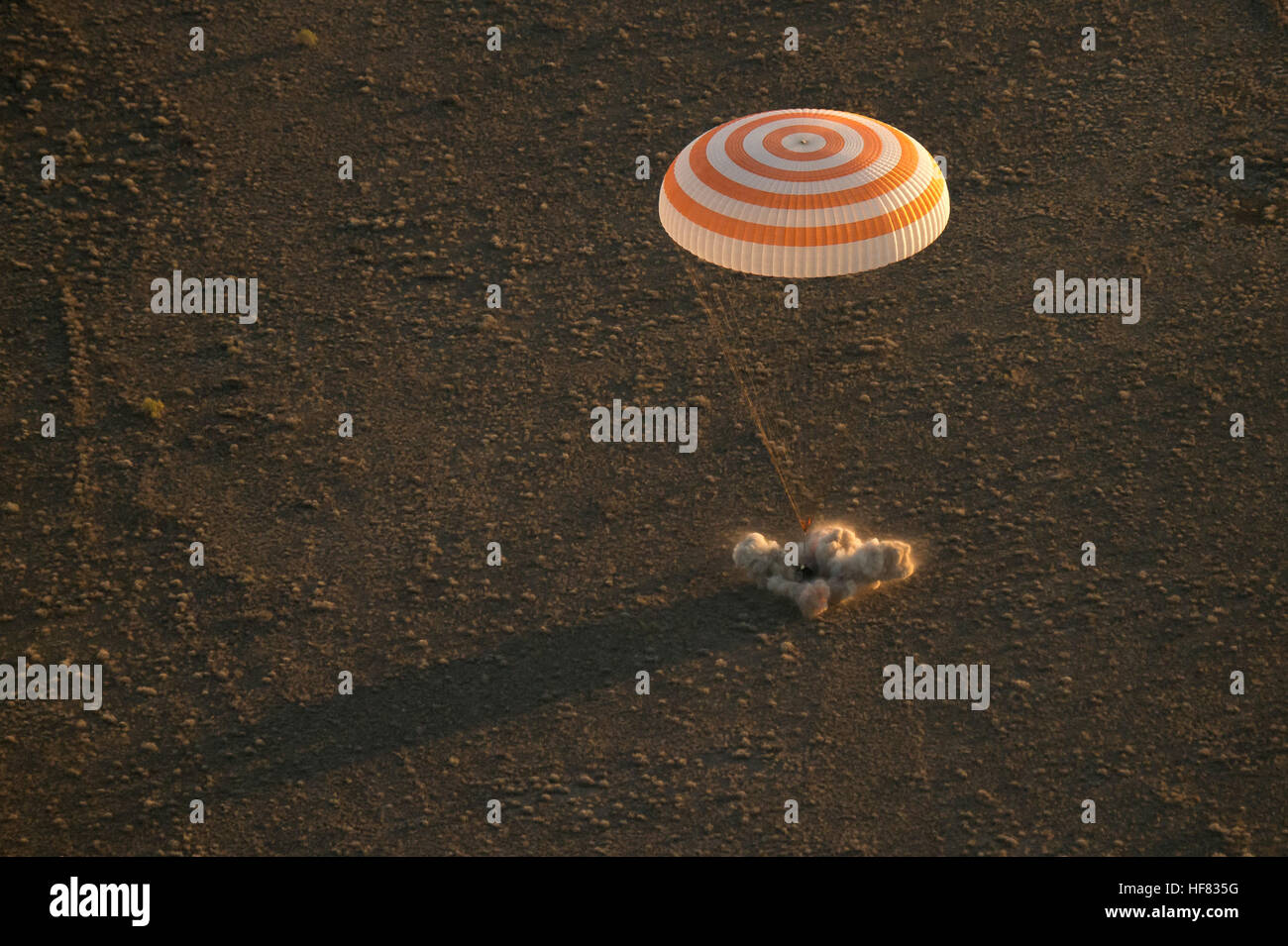 The Soyuz TMA-20M spacecraft is seen as it lands with Expedition 48 crew members NASA astronaut Jeff Williams, Russian Stock Photo