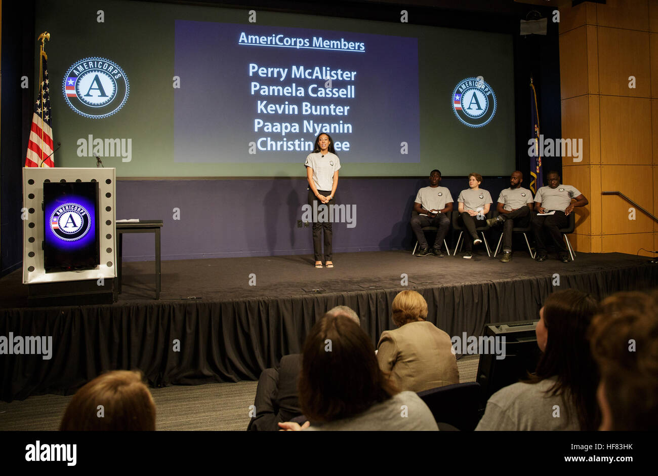 Pamela Cassell, a member of the AmeriCorps Class of 2016, speaks during a ceremony marking AmeriCorps' milestone - Stock Image