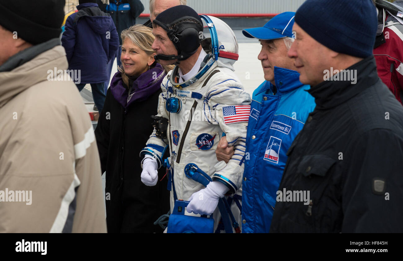 Nasa Deputy Administrator Dava Newman Escorts Expedition 49 Flight Engineer Shane Kimbrough Of Nasa As He Prepares To Board The Soyuz Ms 02 Spacecraft For