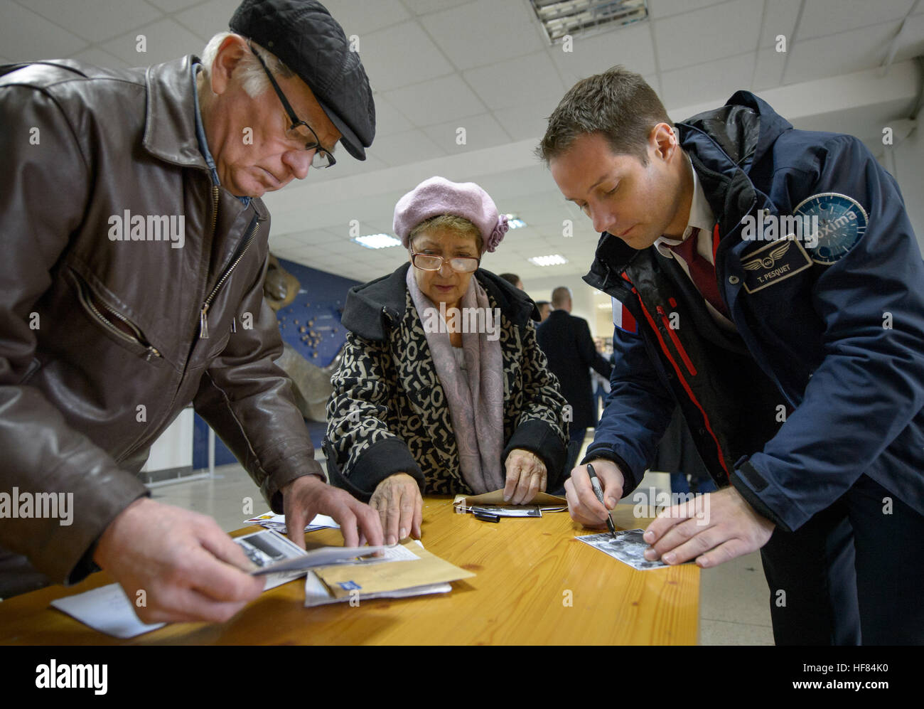 Expedition 50 ESA astronaut Thomas Pesquet signs photographs after visiting the museum at the Gagarin Cosmonaut - Stock Image