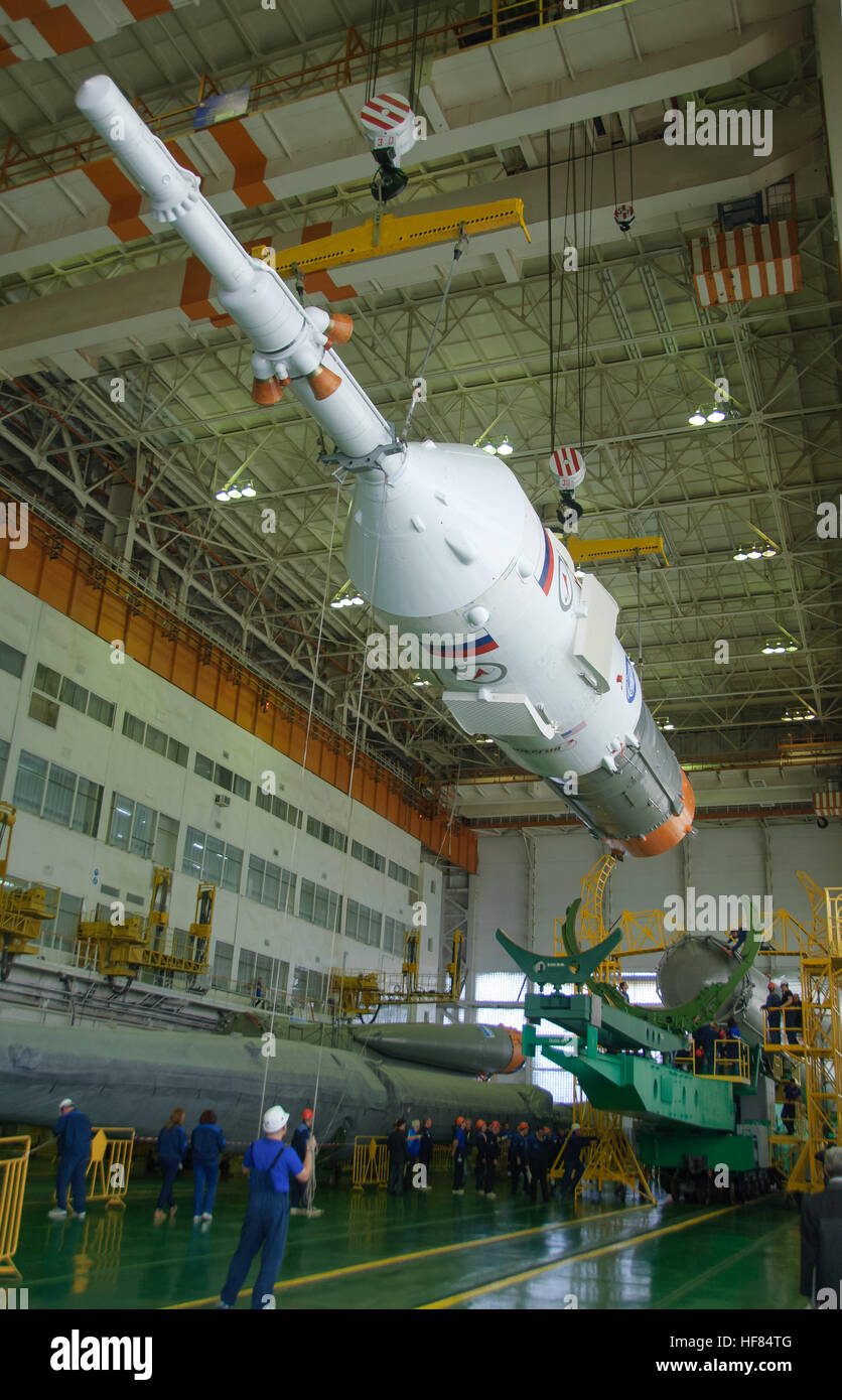 The Soyuz rocket and Soyuz MS-03 spacecraft are assembled Sunday, Nov. 13, 2016 at the Baikonur Cosmodrome in Kazakhstan. - Stock Image