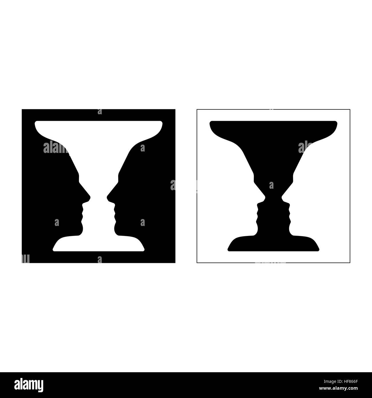 Rubin's vase, an optical illusion based on  negative space vector illustration - Stock Image