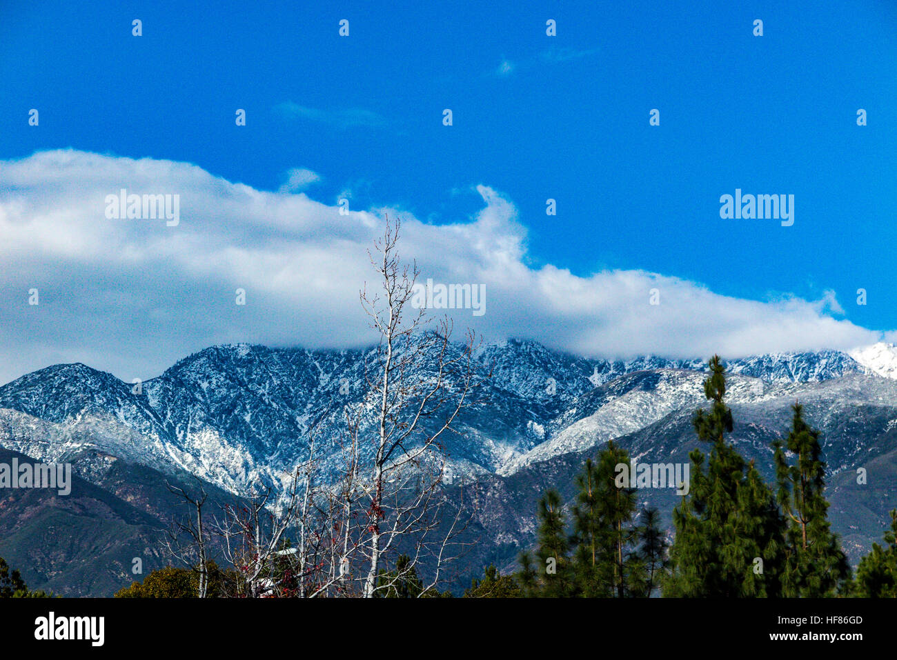 Mount Baldy in the San Gabriel mountains of Southern California after a winters snow storm - Stock Image