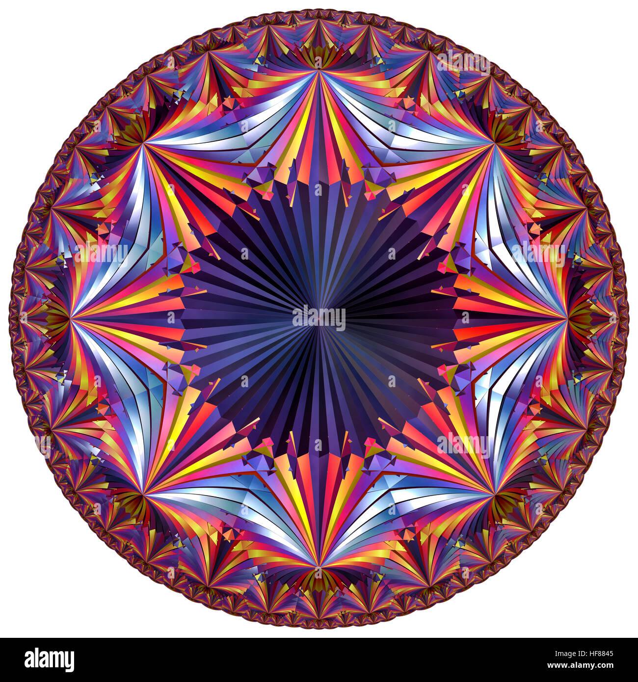 fractal colored hyperbolic tesselation - Stock Image