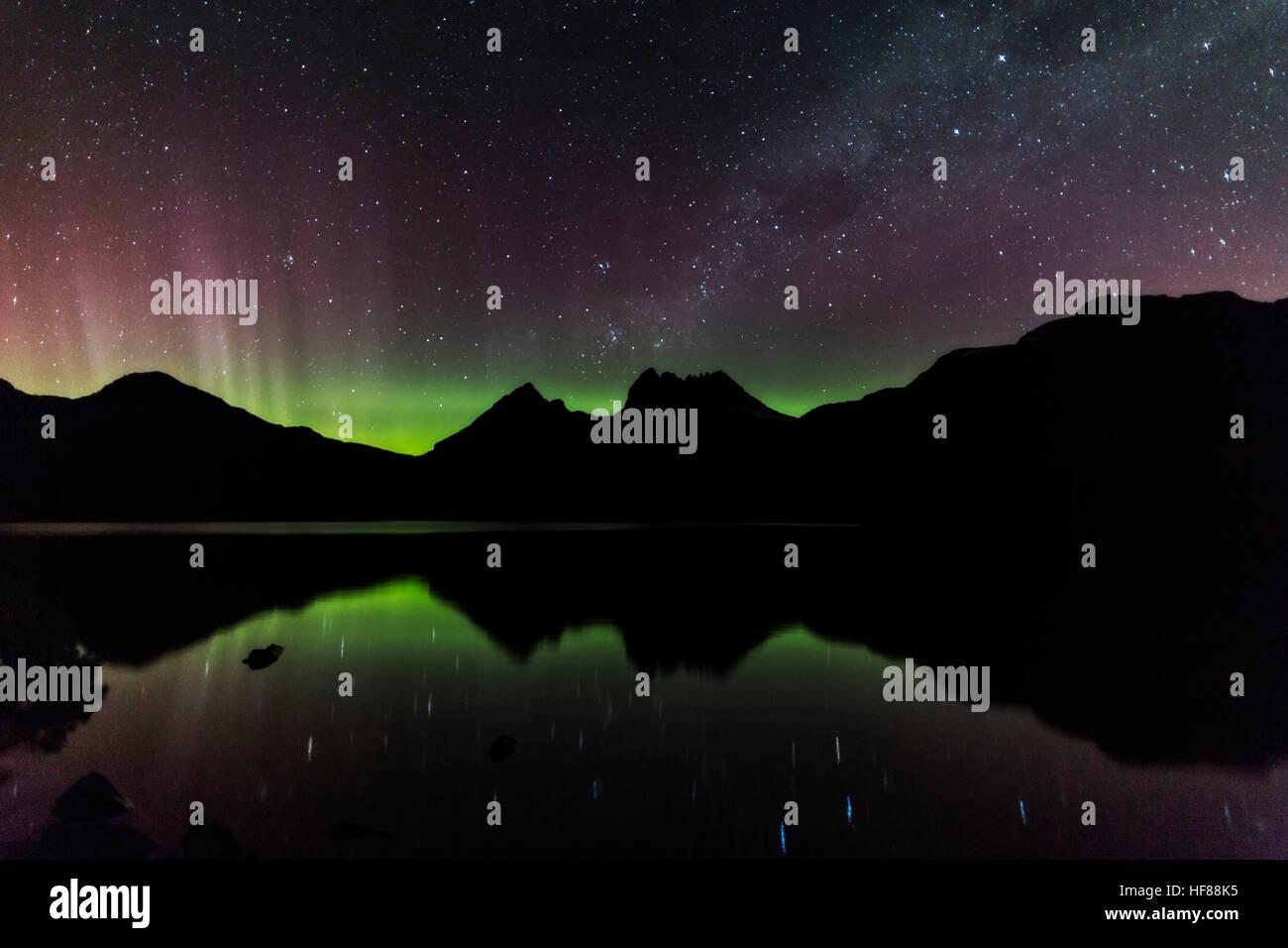 Aurora Australis At Cradle Mountain - Stock Image