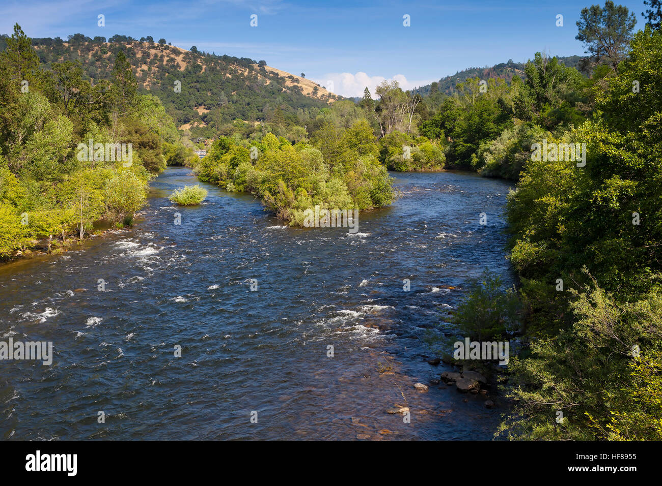 South Fork of the American River near Marshall Gold Discovery State Historic Park. A popular place to pan for gold. - Stock Image