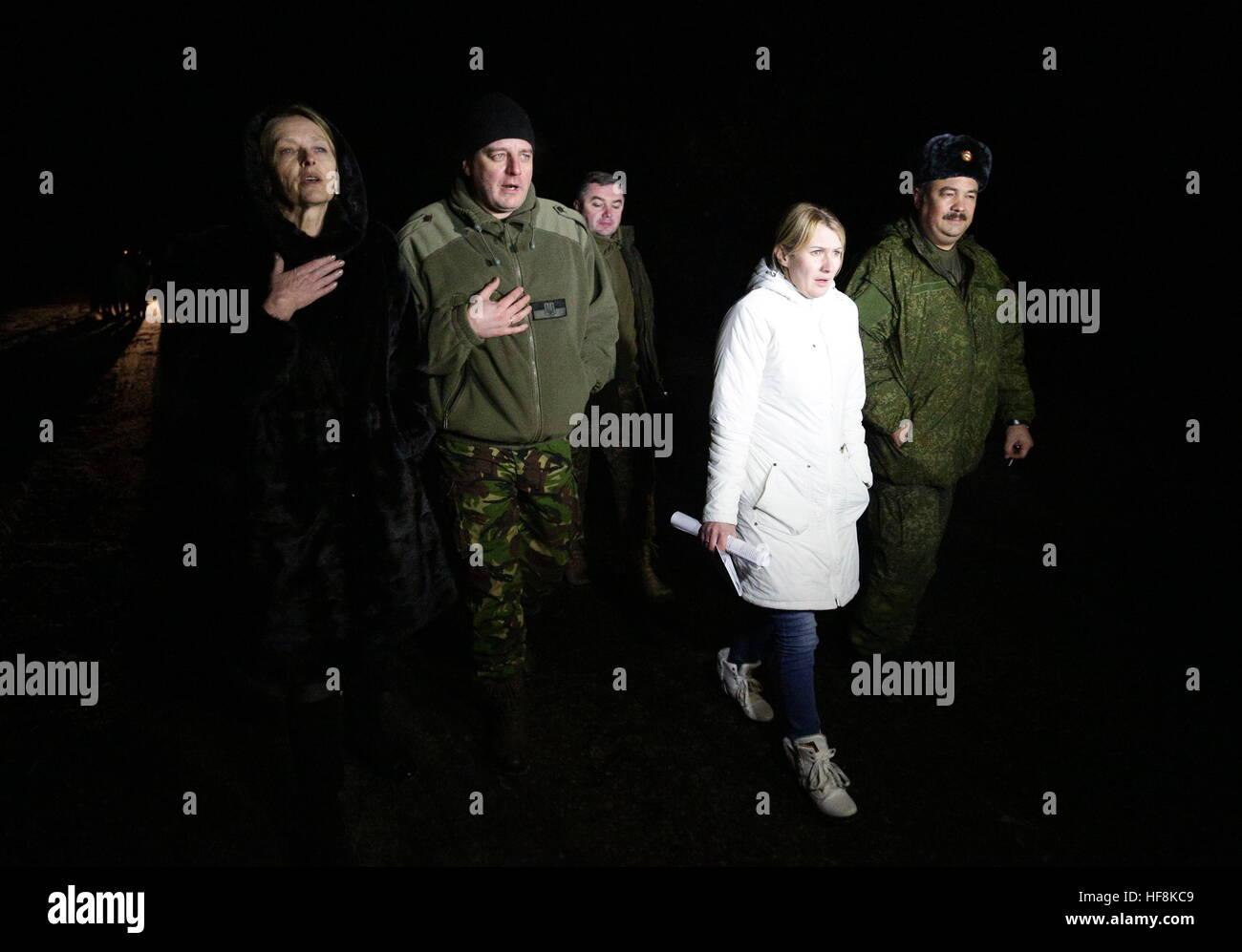 HORLIVKA, UKRAINE - DECEMBER 29, 2016: The Ukrainian Government hands over 15 war prisoners, 8 men and 7 women, Stock Photo